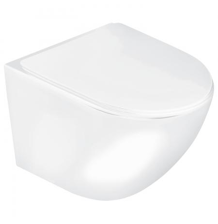 Miska podwieszana WC Delos z deską biały połysk