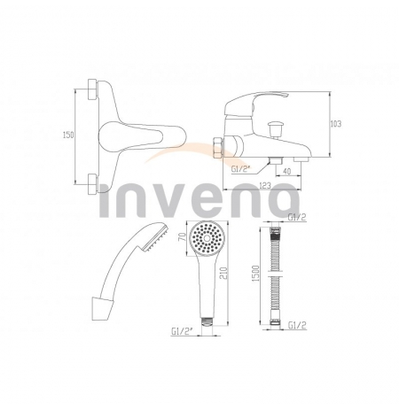 Bateria wannowa Invena Mitris BW-79-KPL